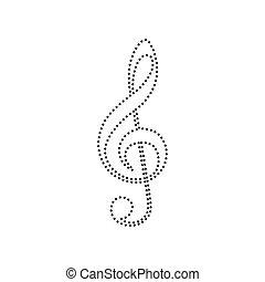 musica, vector., fondo., segno., isolated., violino, g-clef., chiave, triplo, nero, bianco, clef., icona, punteggiato