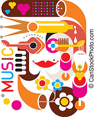 musica, vettore, -, manifesto