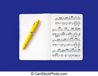 musical, écrire, nouveau, jaune, fontaine, cahier, scores., bas, stylo