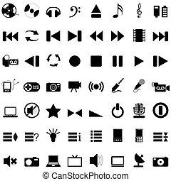 musical, ícones, jogo