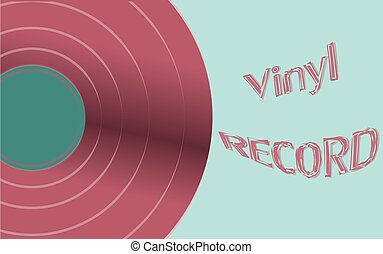 Musical audio is an old vintage retro hipster antique vinyl record and an inscription vinyl record on the background