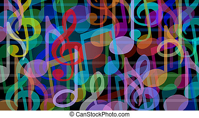 Musical background and music arts symbol as a group of ...