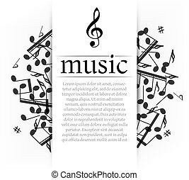 Musical background with clef and notes. Abstract vector...