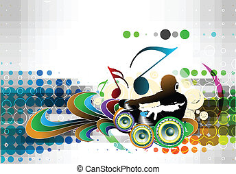 Abstract Vector Illustration Of An Dj Man Playing Tunes With