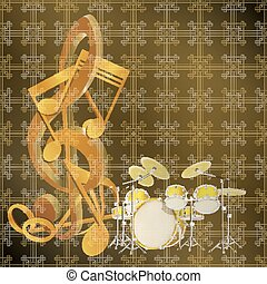 musical background drum kit and musical notes