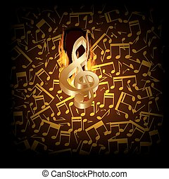 musical background fire break with a treble clef