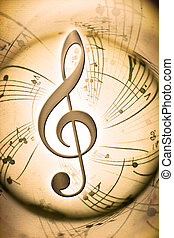 musical background with clef notes and lines