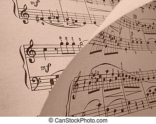 musical background - sepia toned old musical notes...