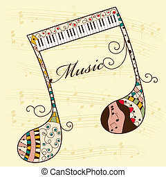 Musical background - Vector musical background with note
