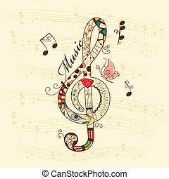 Musical background - Vector musical background with treble...
