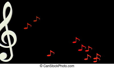 Musical background, white treble clef moving horizontal in swarm of yellow and orange musical notes on black background.