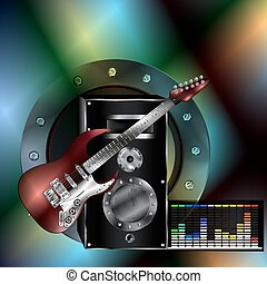 musical background with a guitar and a speaker