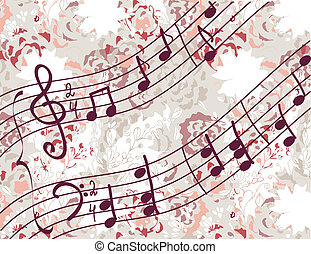 Musical background with melody and floral pattern