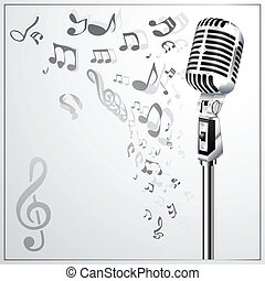 Background with retro microphone and musical notes. Vector illustration