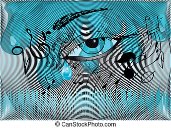 musical background with the human eye