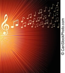 Musical background with treble clef and and notes on red rays area. Overlay for a concert program,