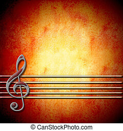 musical background with treble clef and staff , blank - ...