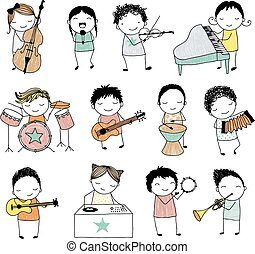 musical band - collection of cute doodle kids playing...
