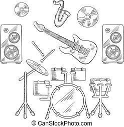 Musical band instruments sketches set