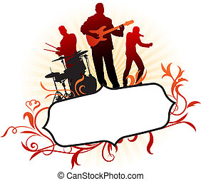 Musical Band on Abstract Tropical Frame Background Original...