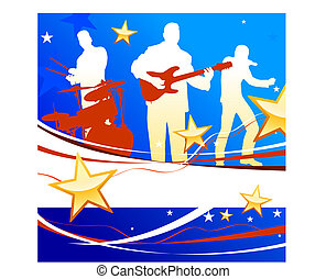 Musical Band on Patriotic Background Original Vector...