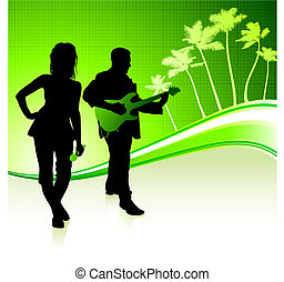Musical Band on Tropical Green Background Original Vector...