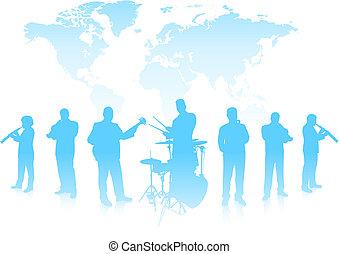 Musical Band on World Background