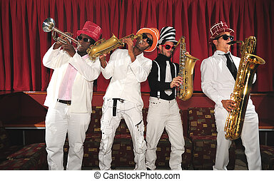 Musical band playing wind instruments