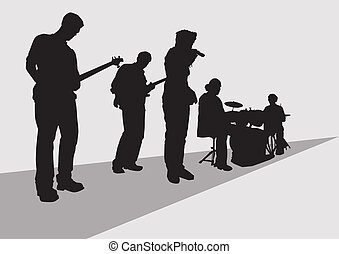 Musical Band - vector drawing music rock band concert stage...