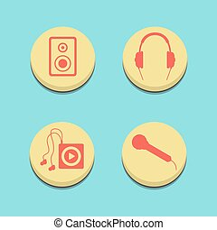musical buttons on blue background