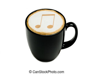 Musical Cappuccino - A cappuccino in a black mug with a...