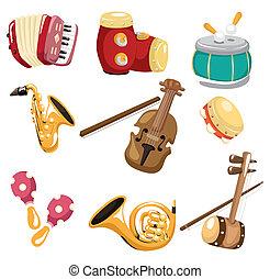 musical, caricatura, instrumento, icono