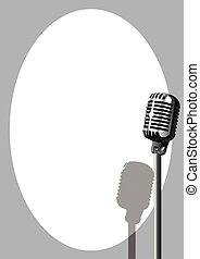 musical, cartel, micrófono, acontecimiento