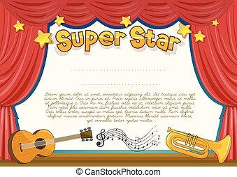 musical, certificado, etapa, instrumento