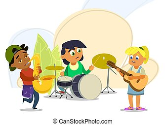 Musical children's band on a white background. Singer and musicians. Vector illustration