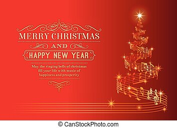 Musical Christmas Tree - A nice Christmas Greeting Card with...