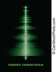 Musical christmas tree card - Card with music waveform as...