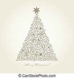 Musical Christmas tree - Christmas tree made of notes. A...