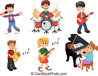 musical, cobrança, instrumentos jogo, cantando, crianças