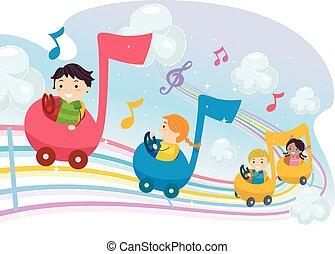 musical, coche, stickman, notas, niños, paseo