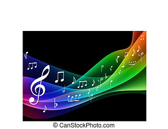 musical, color, onda, espectro, notas