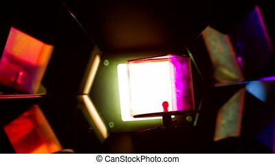 Musical Color Set Of Mirrors Changing Colors On Dark Background