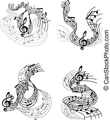 Musical compositions with music waves
