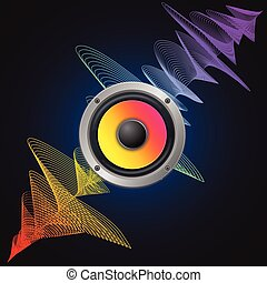 Musical Concept. Audio Speaker and Equalizer on Dark Background. Vector