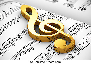 Musical concept - Creative musical concept: golden shiny...