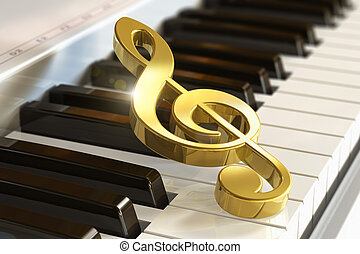 Creative musical concept: macro view of golden shiny treble clef on piano or synthesizer keyboard with selective focus effect