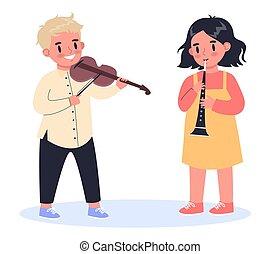musical, concept., enfants, passe-temps, créatif, girl, jouer, garçon