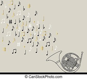 Musical concept. French horn with