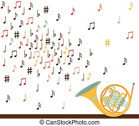 Musical concept. French horn with notes. Flat design