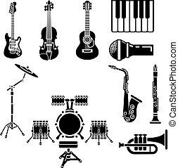 musical, conjunto, instrumento, icono